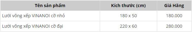Bảng giá lưới võngVinanoi
