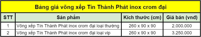 Bảng giá võng xếp Tín Thành Phát inox crom đại